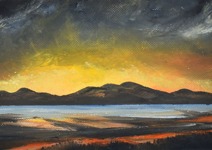Edinburgh sunset 2 oil artwork - code 2