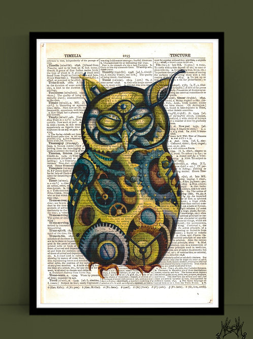 Owl print on dictionary page