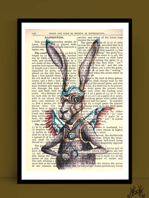 Hare print on dictionary page