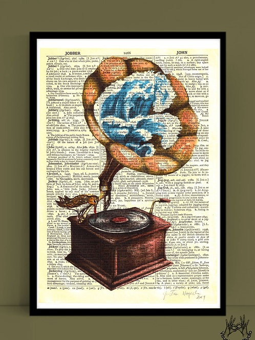 Gramophone print on dictionary page