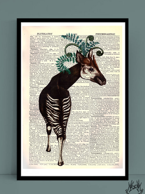 Okapi print on dictionary page