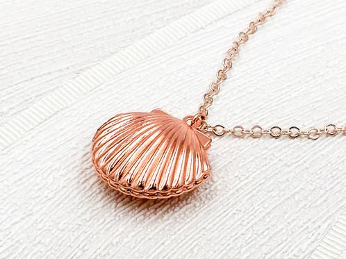 Rose Gold Seashell Locket Necklace mysite