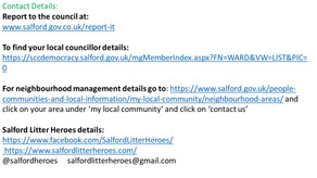 How to save Salford from Litter and fly tipping