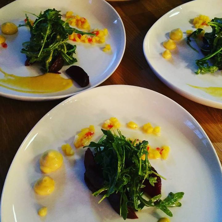 Our delicious Mango Spinach Salad with rubie beets