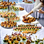 Beautifully decorated catering banquet t