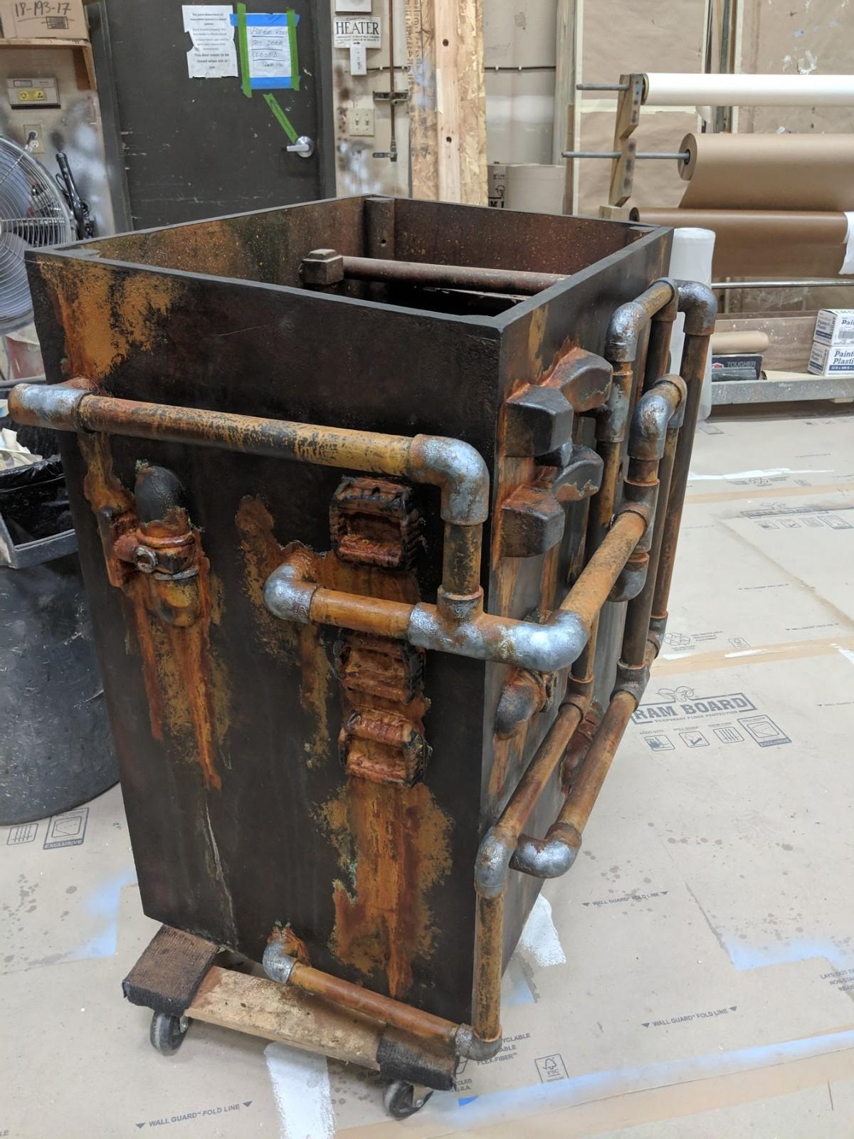 Rusted metal box