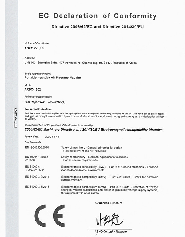 CE Certification for ARDC-1502