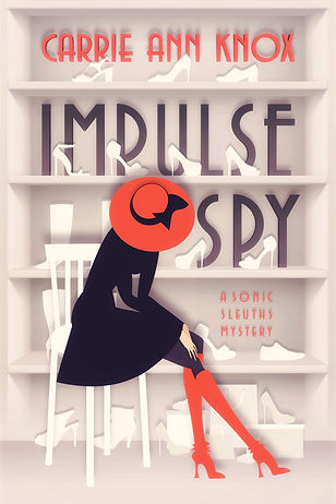 Iconic Red hat scarf and boots girl on cover of IMPULSE SPY Book 1 of Sonic Sleuths Series cozy mysteries