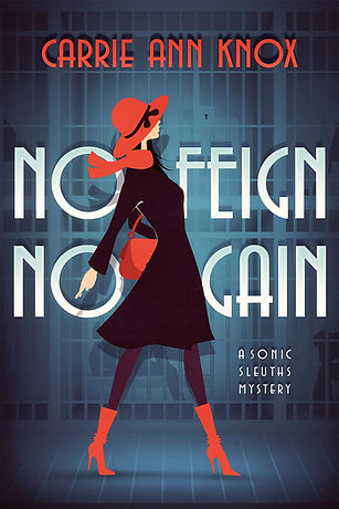 Red hat scarf and boots girl on cover of NO FEIGN NO GAIN Brand new just released Book 2 of Sonic Sleuths Series cozy mysteries