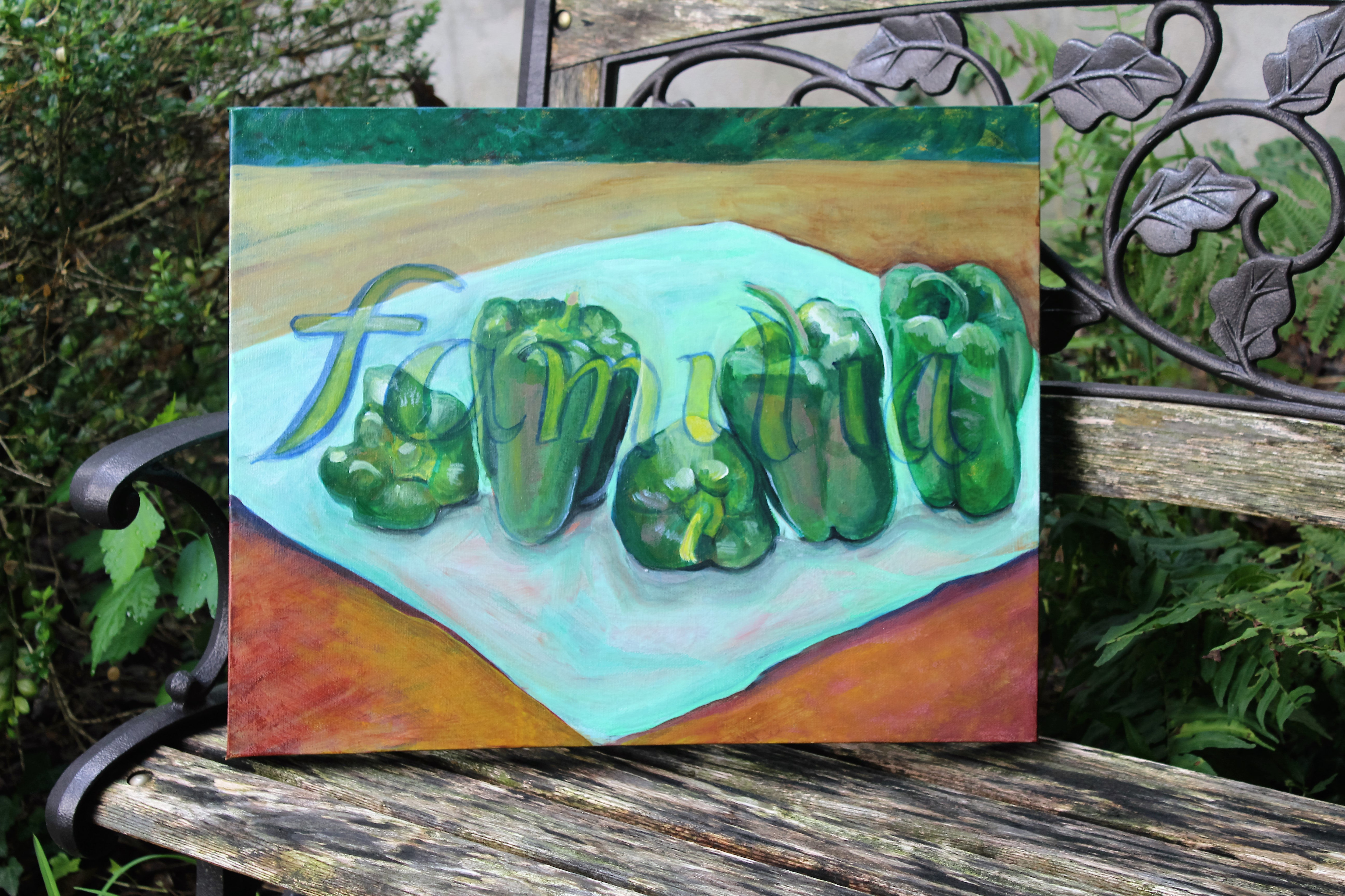 Original, painting, Kitchen decor, family, still life with peppers ...