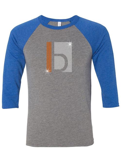 B&W-3/4 Sleeve Baseball T-shirt