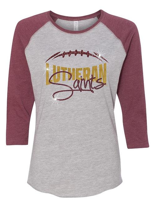 Lutheran-Ladies 3/4 Sleeve Baseball T-shirt