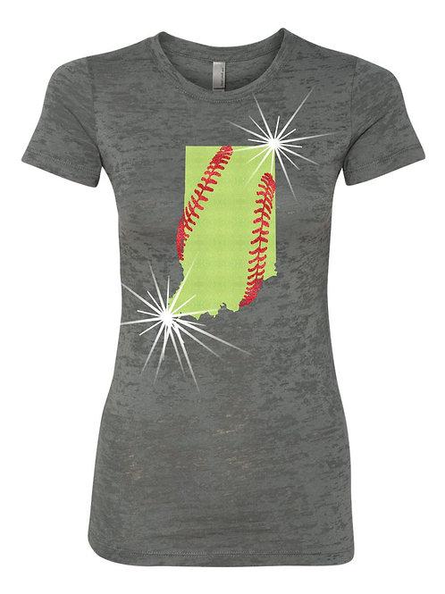 Softball-Ladies Burnout T-shirt