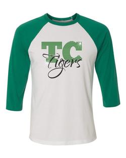 TC-tiger rhinestones-baseball tee-white & green