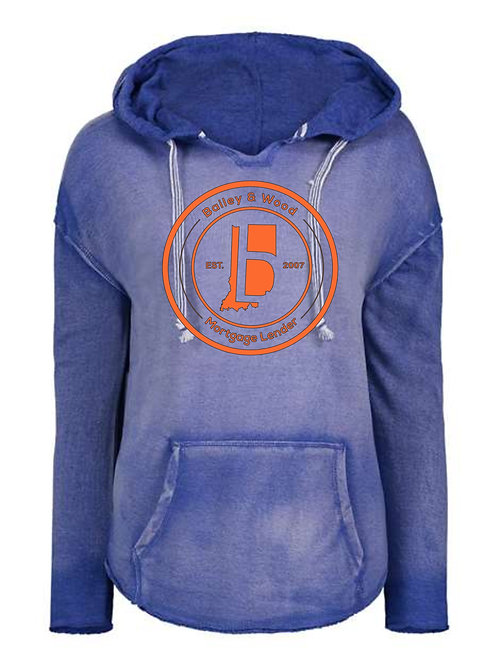 B & W-Hooded V-neck Weathered Sweatshirt