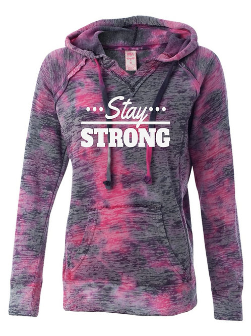 Stay Strong-Rasberry Tie dye Hooded Sweatfirt