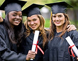 young graduates in their cap and gowns
