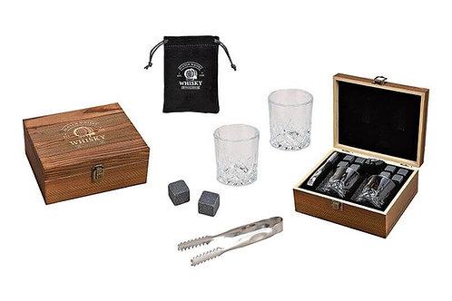 Whisky-Set mit zwei Gläser und Basalt-Steinen