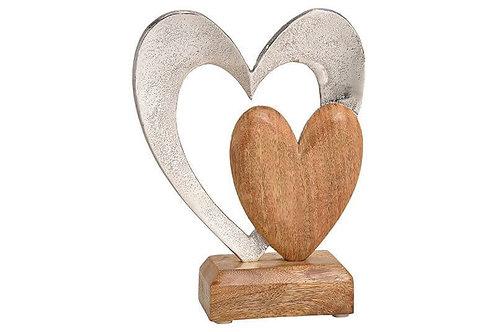 Aufsteller Herz aus Metall, Mangoholz