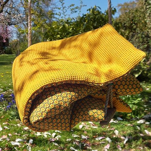 Yvette - Plaid moutarde fleuri