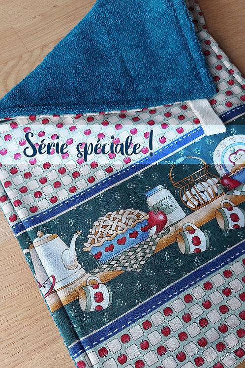 Duo d'essuie-tout réutilisables //Tarte aux pommes bleu