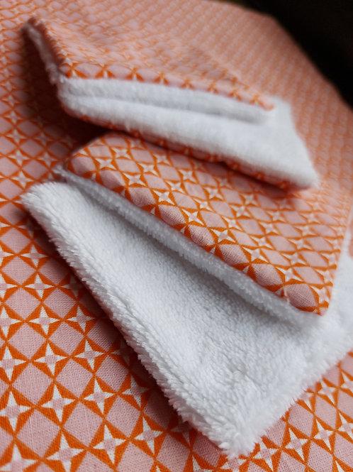 Cotons démaquillants réutilisables x 4 // Orange &Pink
