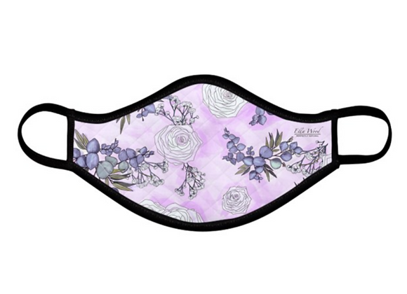 Purple Rose and Eucalyptus reusable Fabric Face mask