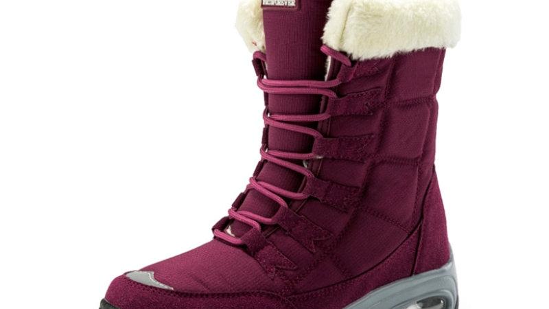 Moipheng Women Winter BootsvMid-Calf Snow Boors Lace-Up Comfy Waterproof Booties