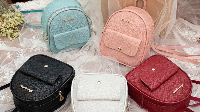 Mini Backpack Women PU Leather Shoulder Bag for Girls Kids Small Bagpack