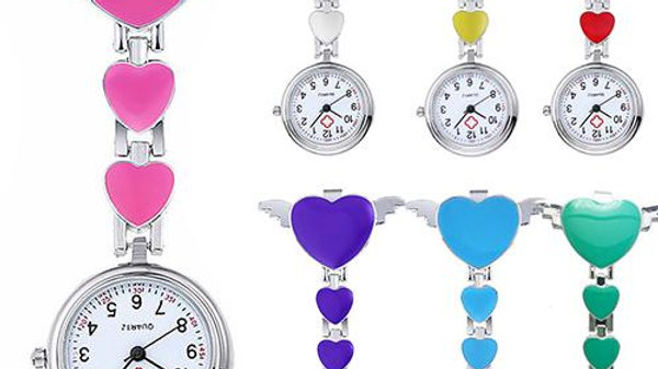 New Women Lady Cute Love Heart Quartz  Fob Brooch Nurse Pocket Watch