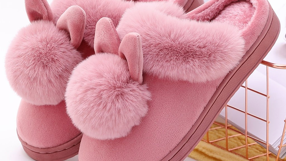 New Ladies Winter Slippers Furry Rabbit Ears Indoor Slippers Soft Comfy Slippers