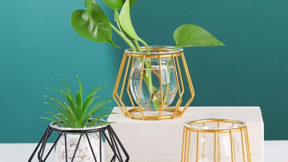 Terrarium Retro Iron Line Vase  Plant Vase holder Decorative Nordic ornament
