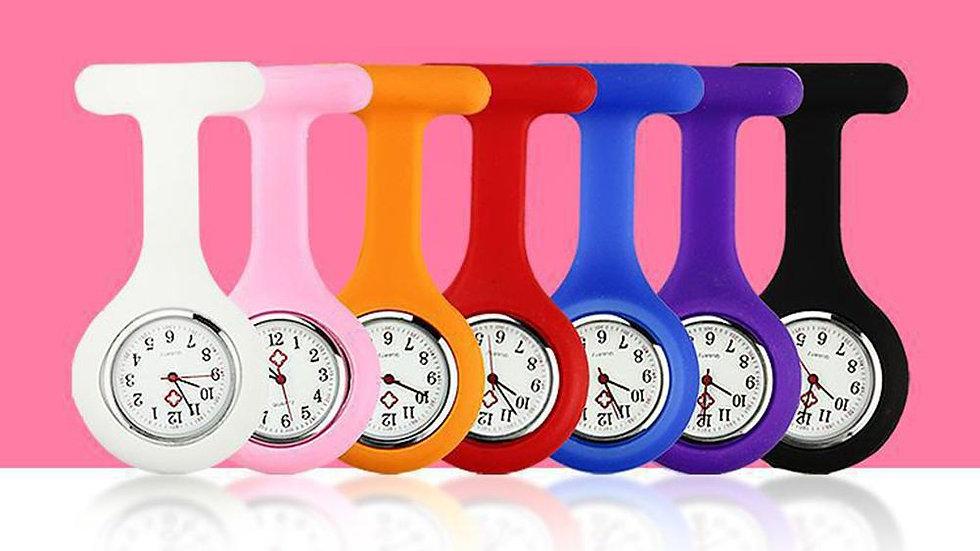 Solid Color Analog Digital Brooch Fob Medical Nurse Pocket Watch Gift Batteries
