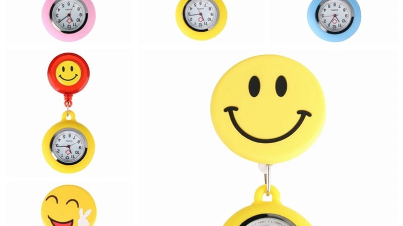 Yellow Cute Smiling Fob Brooch Pocket Adjustable Watch for Medical Doctor Nurse