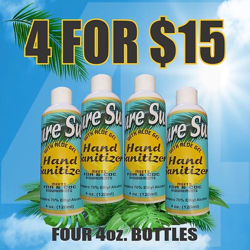 Pure Sun Hand Sanitizer Four 4oz bottles for $15.