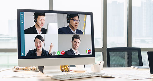 laptop screen featuring several people holding a pixselchat meeting