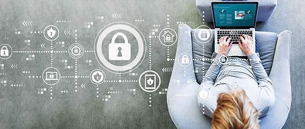 graphic icons of cyber security over an image of a young woman looking at oxford cyber accademy website on her laptop