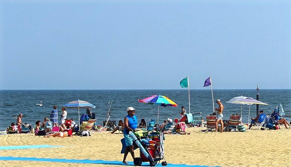 Blue mobility mats on Belmar beach