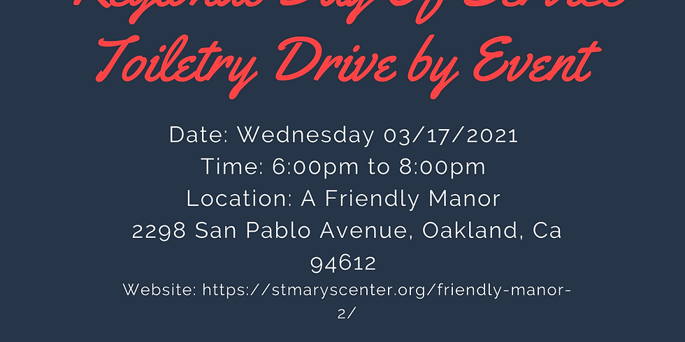 Regional Day of Service: Toiletry Drive by Event