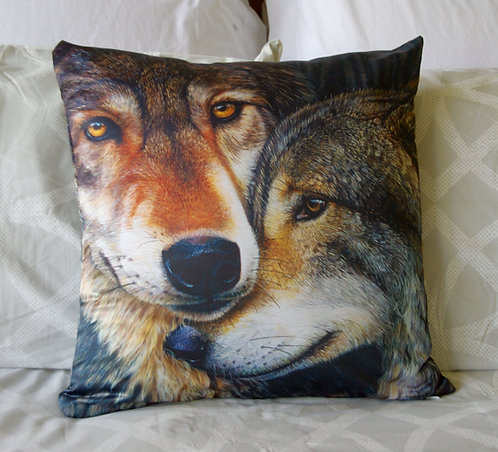Grey wolves pillow case