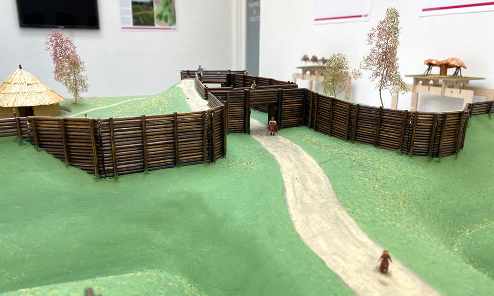 A replica model of an iron age hill fort