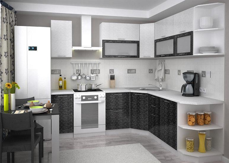 Кухня Валерия металлик серый дождь/черный дождь