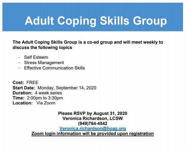 Adult Coping Skills Flyer September 2020