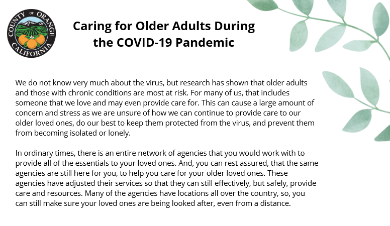 Caring for Older Adults During the COVID