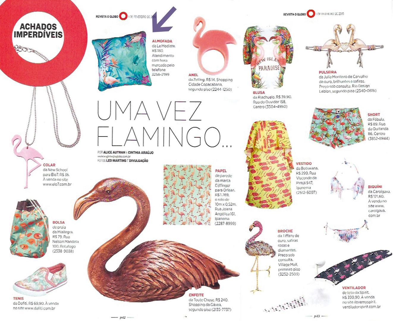 almofada flamingos globo revista achados