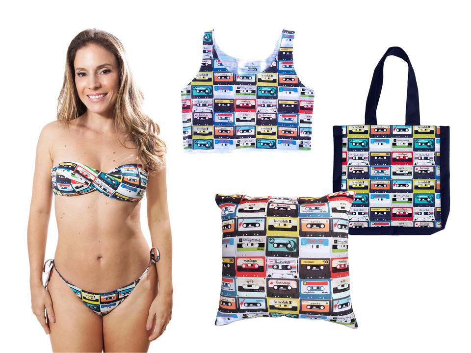 Produto Oficial Rock in Rio by le modiste estampas exclusivas originals ecobag bolsa, camiseta cropped, almofada, bikini, biquini, maira charken, fita cassete, k7, vintage