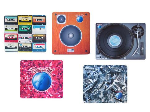 Produto Oficial Rock in Rio by le modiste com estampa exclusiva originals mousepads vitrola, fita cassete k7, caixa de som vintage, microfones, guitarra logo grande rock in rio