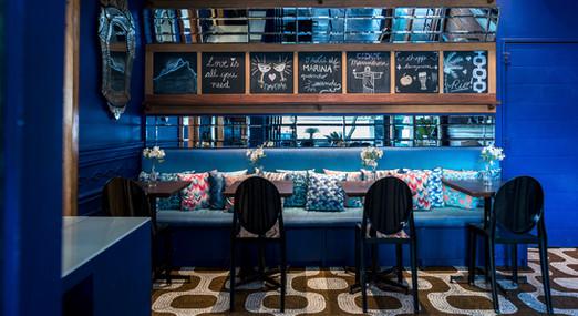 Mix de almofadas com estampas exclusivas le modiste originals no Bar do Lado, Hotel Marina, Rio de Janeiro, Leblon