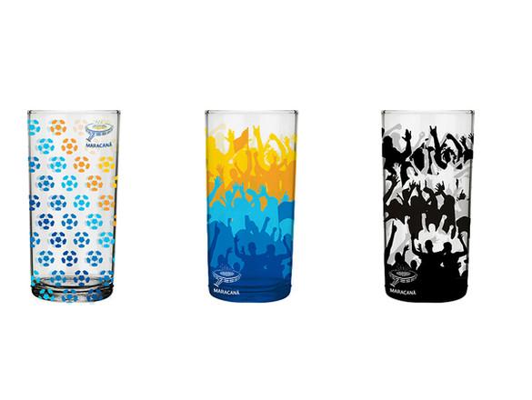 Copos de vidro Produto Oficial Maracanã le modiste estampa exclusiva originals torcida e bolas de futebol