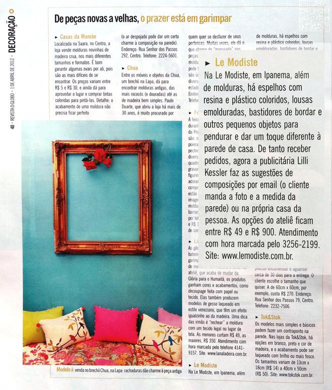 Revista O Globo Decoracao Materia Moldur